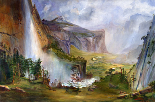 """Gail Ingis Domes of Yosemite Ode to Bierstadt acrylic/canvas (24"""" x 36"""")"""