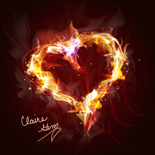 heart of fire background for design
