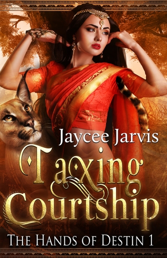 cover for Taxing Courtship by Jaycee Jarvis, depicting a woman in a red sari