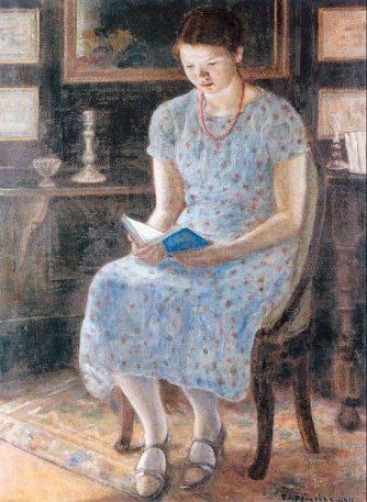 Frieseke_Blue_girl_reading